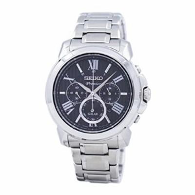 【当店1年保証】セイコーSeiko Premier Solar Chronograph Black Dial Men's Watch SSC597