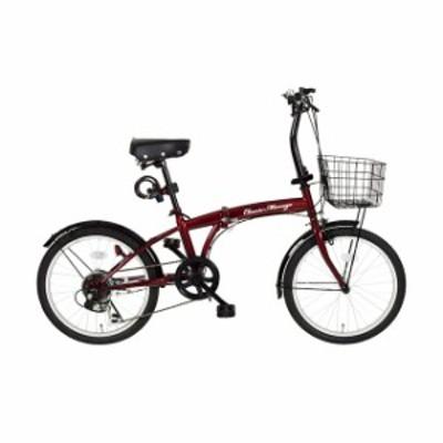 Classic Mimugo FDB206G-RL/クラシックミムゴ 20インチ折畳自転車 6段ギア/クラシックレッド