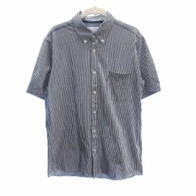 【中古】グリーンレーベルリラクシング ユナイテッドアローズ シャツ 半袖  ボタンダウン ストライプ M 紺 ネイビー