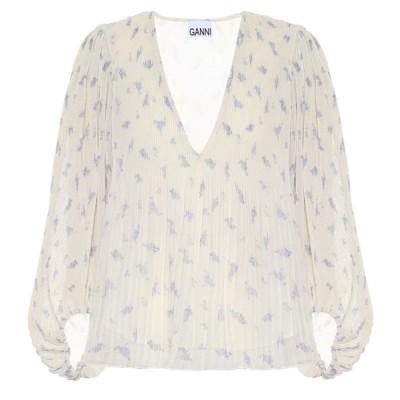 ガニー Ganni レディース ブラウス・シャツ トップス Pleated floral georgette blouse Egret