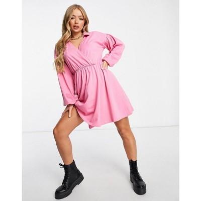 エイソス ASOS DESIGN レディース ワンピース ラップドレス シャツワンピース ワンピース・ドレス Mini Wrap Shirt Dress In Bubblegum Pink ピンク