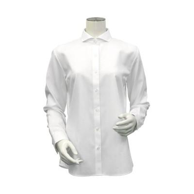 【トーキョーシャツ】 形態安定 ホリゾンタル ワイド衿 綿100% 長袖ビジネスシャツ レディース シロ LL TOKYO SHIRTS