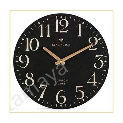 Nikky Home France Retro Style Silent Quartz Analogue Round Wall Clock, 30cm Black