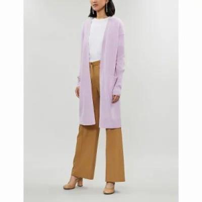 セオリー カーディガン lightweight collarless cashmere cardigan Pink lilac