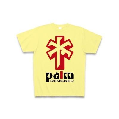 ヤシの木デザイン(赤) Tシャツ(ライトイエロー)