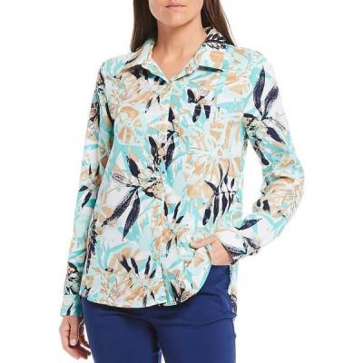 マルチプルズ レディース シャツ トップス Palm Print Long Roll-Tab Sleeve Hi-Low Button Down Shirt Seafoam