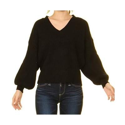 レディース Vネック ドルマン袖 秋 冬 暖かい 伸縮性 ストレッチ 肌見せ セーター ドルマン袖 肌触り 着心地 長