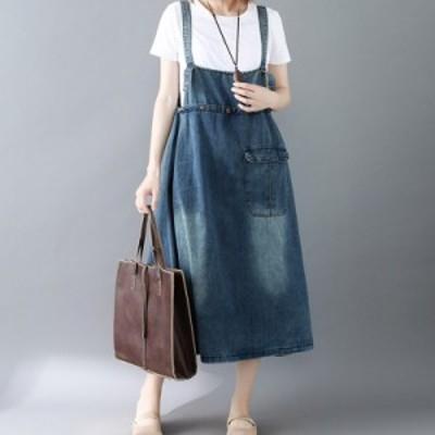 デニムオールインワンワンピース 春夏人気 女性ストレッチチノエプロンワンピース 新品 大きいサイズ