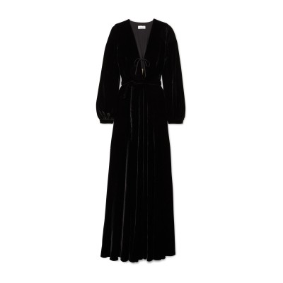 RAQUEL DINIZ ロングワンピース&ドレス ブラック 40 シルク 100% ロングワンピース&ドレス