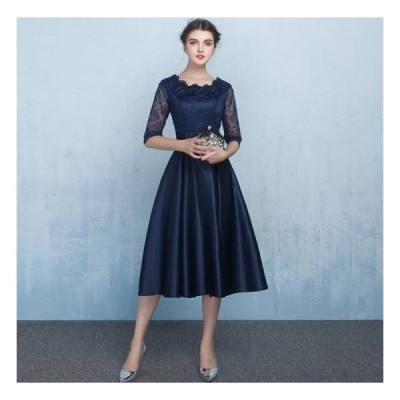 一部即納 パーティードレス 20代 30代 40代 50代 結婚式 ワンピース 大きいサイズ 袖あり 膝丈 ミモレ丈 フォーマル ロングワンピース  お呼ばれ ドレス 二次会