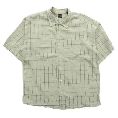 古着 半袖シャツ チェック ボックス カーキ サイズ表記:L