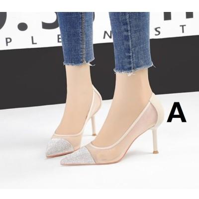 2色 ハイヒール パンプス キラキラ ポインテッドトゥ サンダル 韓国風 春夏 細いヒール レディース 靴 7CMくらいヒール 痛くない 履きやすい 美脚 20代30代40代