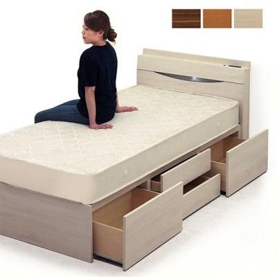 収納付きベッド シングルベッド マットレス付き 引き出し収納 コンセント付き 宮付き モダン 木製 大容量