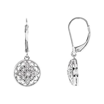 Sterling Silver 1/10 CTW Diamond Lever Back Dangle Earrings for Women