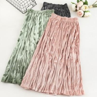 フレアスカート レディース ベロア風 ロング丈 体型カバー トレンド 豊富なカラー