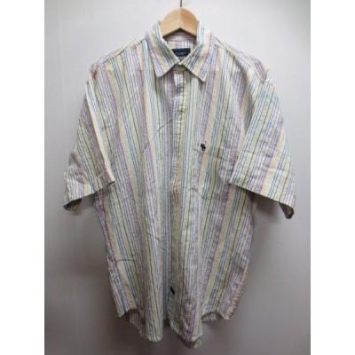 Abercrombie & Fitch/アバクロンビー & フィッチ ストライプ柄 半袖 コットン シャツ 白×赤×黄×青×水色 サイズ:L