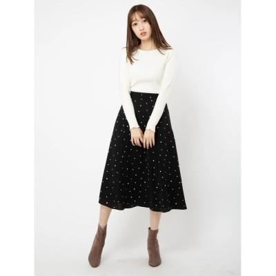 BE RADIANCE ハートプリントロングスカート(ブラック)【返品不可商品】