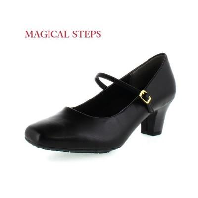 MAGICAL STEPS マジカルステップス 靴 5541 リクルート 冠婚葬祭 就活 就職活動 仕事 パンプス ブラック レディース 4E スクエアトゥ ストラップ