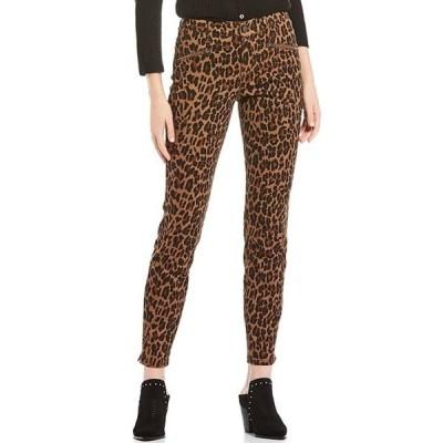 コード ブルー レディース カジュアルパンツ ボトムス Soho Zipper Front Pocket Detail Cheetah Print Skinny Jeans