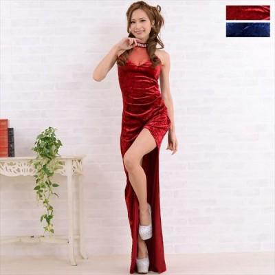 ベロアアシンメトリーロングドレス