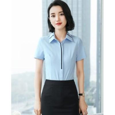 レディース トップスシャツ 制服 事務服 フォーマル ビジネス シャツ 半袖 通勤 大きいサイズ
