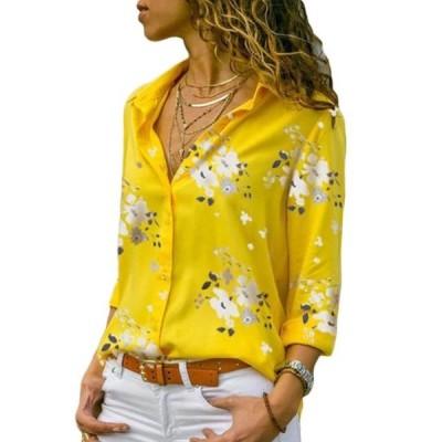 レディース 衣類 トップス Womens Floral Plus Size Turn Down Collar Long Sleeve Blouse ブラウス&シャツ