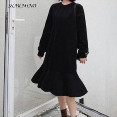 【送料無料】ワンピース フリル トレーナー 韓国 ロング丈 長袖 大きいサイズ 4-25-3-3-0017