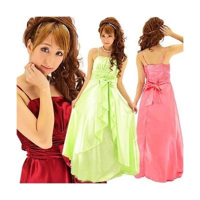 上質サテンリボンオーバースカート姫ロングドレス
