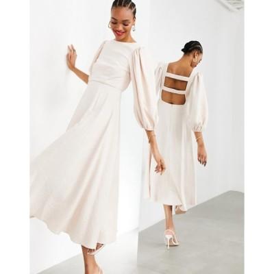 エイソス レディース ワンピース トップス ASOS EDITION full skirt midi dress with ruched strap back in seashell
