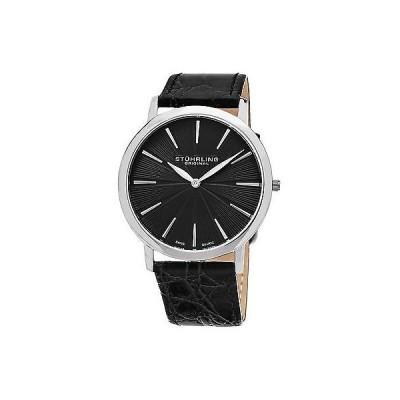 ストゥーリングオリジナル腕時計Stuhrling Original メンズ 682.02 Orchestra スイス クォーツ ブラック レザー ストラップ 腕時計