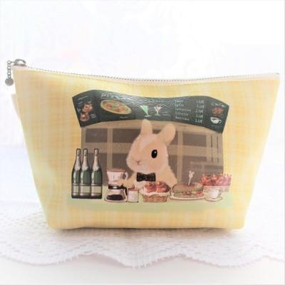 うさぎ ポーチ 化粧ポーチ カフェカウンター かわいい 小林裕美子 うさぎ雑貨 日本製 yumiko kobayashi