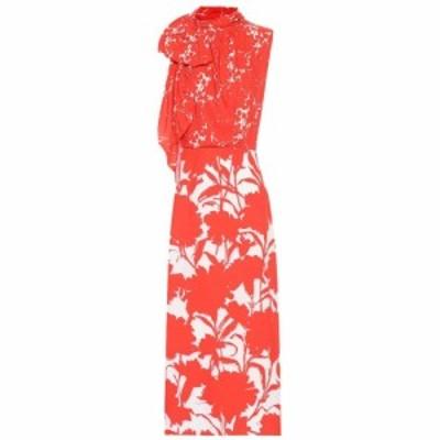 プラダ Prada レディース ワンピース ミドル丈 ワンピース・ドレス Floral-printed twill midi dress Lacca/lacca