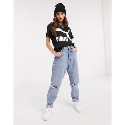 プーマ レディース Tシャツ トップス Puma classics logo t-shirt in black Cotton black