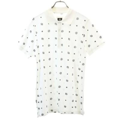 フランクリンマーシャル 総柄 半袖 ポロシャツ XS 白地 FRANKLIN&MARSHALL 鹿の子 メンズ 古着 200623  wg5-1011