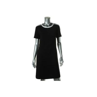 ドレス 女性  ジョネスニューヨーク Jones New York 7951 レディース ブラック Contrast Trim 半袖s Shirtドレス 10