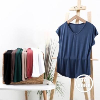 レディーストップス半袖モダールカジュアル着痩せゆったり無地無地UV夏ルームウェア柔らかい10色