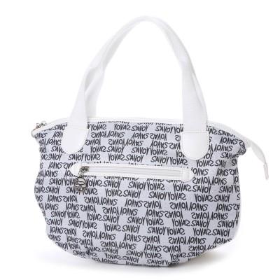 サボイ SAVOY ジャガード織・グラフィティロゴ柄のハンドバッグ (ホワイト)