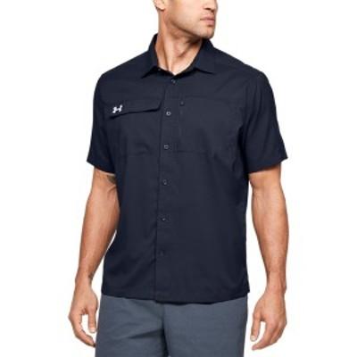アンダーアーマー メンズ Tシャツ トップス Under Armour Team Motivate Button Up Midnight Navy/White