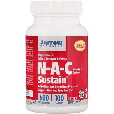 N-A-C Sustain?(N-A-C サステイン)、N-アセチル-L-システイン、600 mg, 100 粒