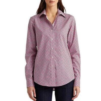 ラルフローレン レディース シャツ トップス Petite Size Easy Care Leaf Print Long Sleeve Cotton-Blend Shirt Pink Multi