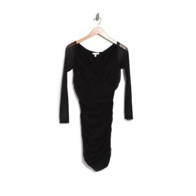 アボンド レディース ワンピース トップス Long Sleeve Mesh Dress BLACK