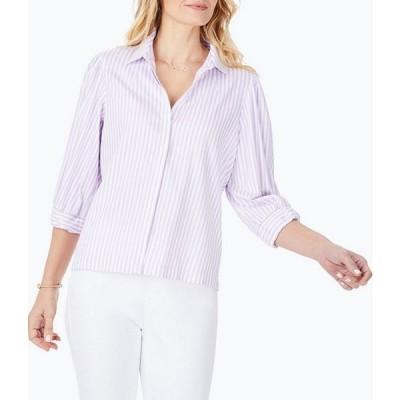 フォックスクラフト レディース シャツ トップス 3/4 Sleeve Lavender Stripe Blouse