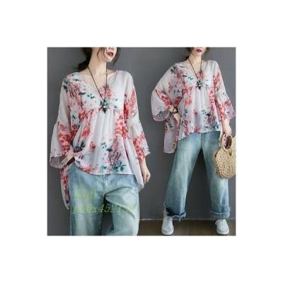 Tシャツ 大きいサイズ 薄手 体型カバー Vネック カジュアル 通勤ファッション パフスリーブ ゆったり 着痩せ 花柄 七分袖 プリント 新作 レディース 夏