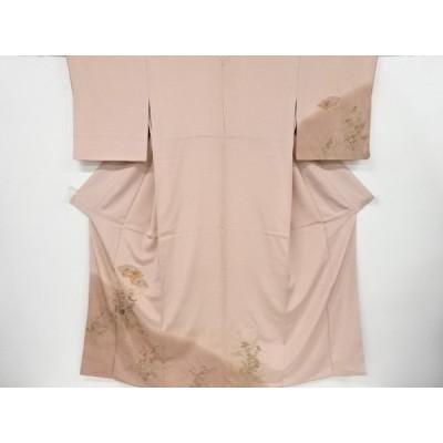 宗sou 地紙に牡丹・桔梗・草花模様刺繍一つ紋訪問着【リサイクル】【着】