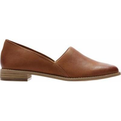 クラークス レディース スリッポン・ローファー シューズ Women's Clarks Pure Easy Flat Tan Leather