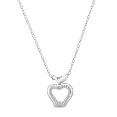 Jewelili Enchanted Disney Fine Jewelry 1/10 CTTW Sterling Silver Snow White Apple Pendant