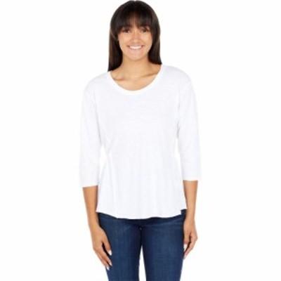 モドオードック Mod-o-doc レディース 長袖Tシャツ トップス Lightweight Slub Jersey 3/4 Sleeve Shirred Back Tee White