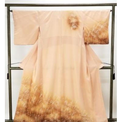 訪問着 アウトレット 正絹 すすき模様 付下訪問着 中古 着物