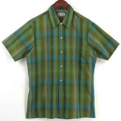古着 TOWNCRAFT タウンクラフト チェックシャツ オンブレチェック デッドストック 60年代 ヴィンテージ 半袖 グリーン系 メンズXS 中古 n025126