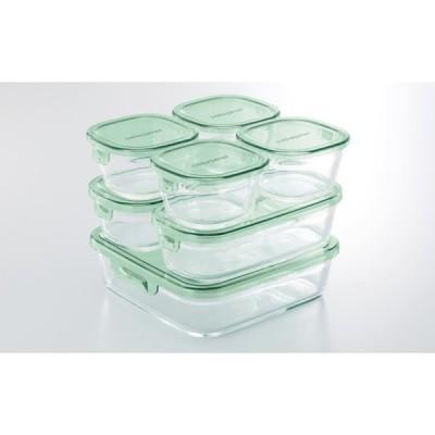 iwaki 保存容器 7点セット グリーン 耐熱ガラス 作り置き 公式 レンジ レンジ オーブン レンジ調理 耐熱ガラス システムセット パック&レンジ